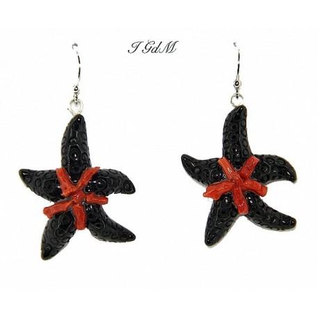Orecchino stella marina in ossidiana e corallo