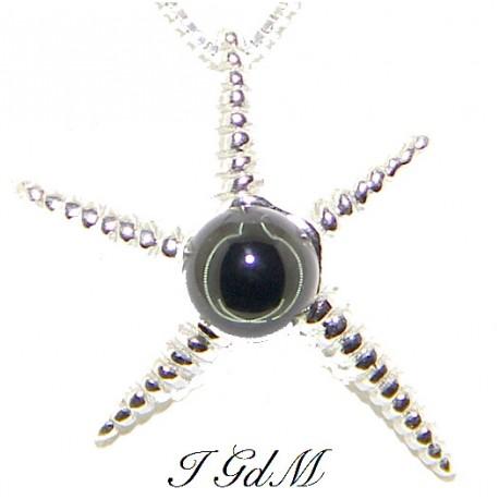 Ciondolo stella marina con ossidiana