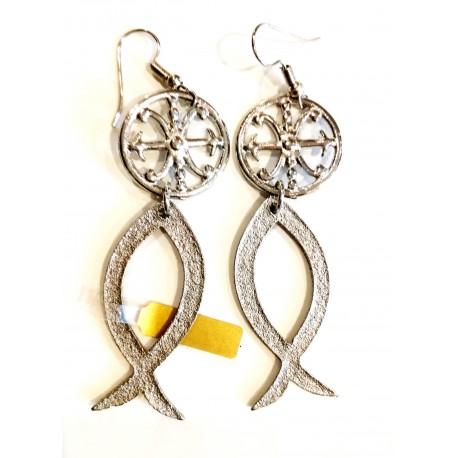 Orecchini in metallo con Simbolo di Lipari e pesce