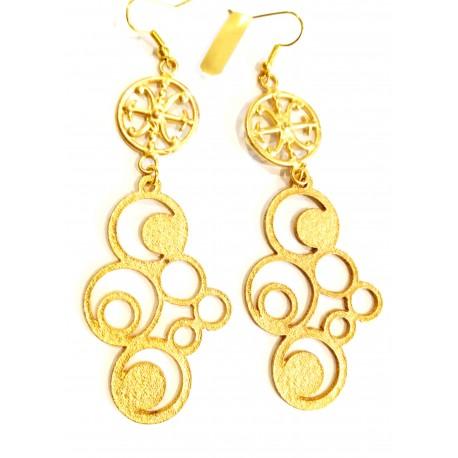 Orecchini in metallo dorato con Simbolo di Lipari