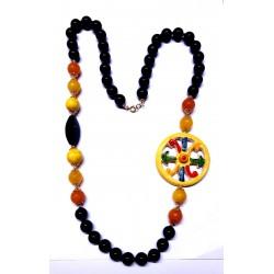 Collana in ossidiana e pietre dure con Simbolo di Lipari in ceramica