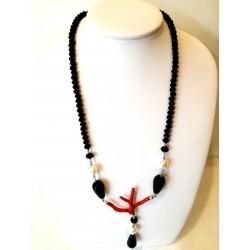 Collana in ossidiana, corallo e perle