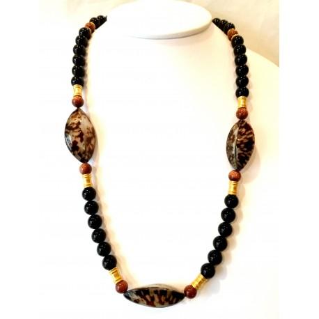 Collana ossidiana, patelle e gold stone
