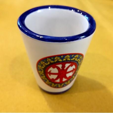 Bicchierino Limoncello Simbolo di Lipari rosso