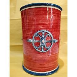 Vaso cilindro fondo bordò e logo simbolo di Lipari