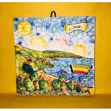 Mattonella paesaggio con il Simbolo di Lipari
