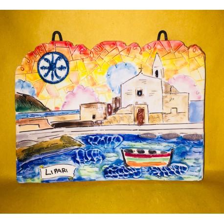 Mattonella Marina Corta al tramonto e simbolo di Lipari 10x10 cm