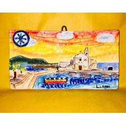 mattonella tramonto a Marina Corta con Simbolo di Lipari 10x19 cm