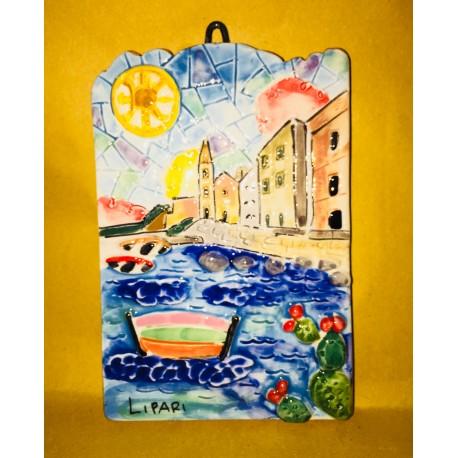 Mattonella salita di San Giuseppe e Simbolo di Lipari 15x10cm