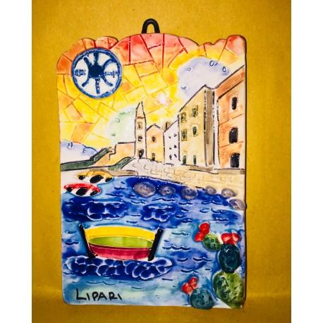 Mattonella Salita di San Giuseppe al tramonto e Simbolo di Lipari 15x10 cm