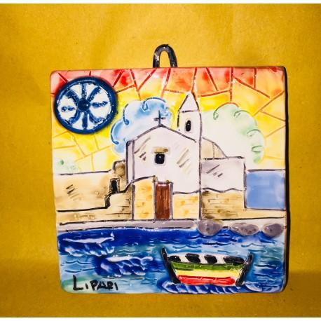 Mattonella tramonto a Marina corta e Simbolo di Lipari 10x10cm