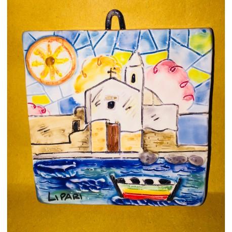 Mattonella Marina Corta e Simbolo di Lipari 10x10cm