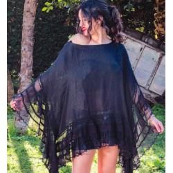 Poncho Caftano nero - Sartoria Positano