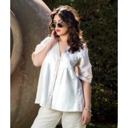 Camicia Bianca e beige - Sartoria Positano