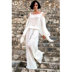 Pantalone bianco in lino - Sartoria Brunella Positano