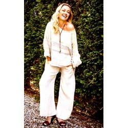 Pantalone bianco a palazzo in lino - Sartoria Brunella Positano