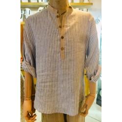 Camicia lino beige a righe blu, collo coreano.