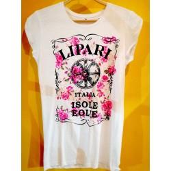 Maglietta bianca con simbolo di Lipari