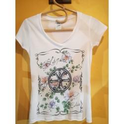 Maglietta bianca con Fiori del cappero e Simbolo di Lipari