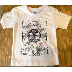Maglietta bimba con fiori del cappero e Simbolo di lipari