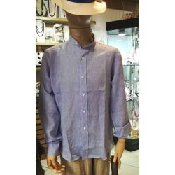 Camicia in lino, collo coreana - Sartoria Positano