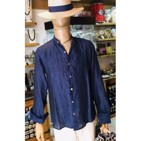 Camicia in lino blu, con colla alla coreana