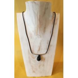 Collana in caucciù e argento con goccia in ossidiana