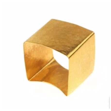Anello quadrato in rame placcato oro