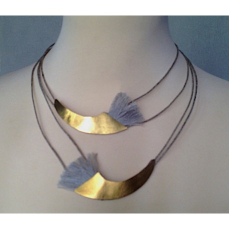Collana in lino e bronzo placcato oro