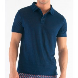 Polo in lino blu ZEYBRA