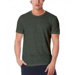 T-shirt uomo in lino verde militare ZEYBRA