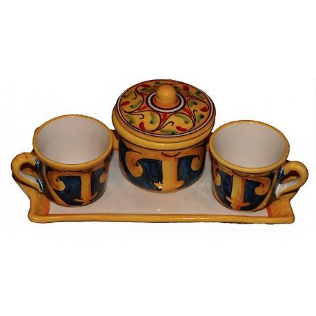 Set tazzine con zuccheriera simbolo di Lipari