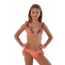 Bikini triangolo bimba con volant arancio fluo Cotazur