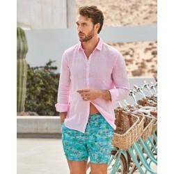 Camicia rosa in lino Zeybra