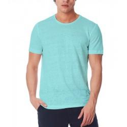 T-shirt uomo in lino celeste