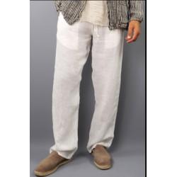 Pantalone in puro lino bianco