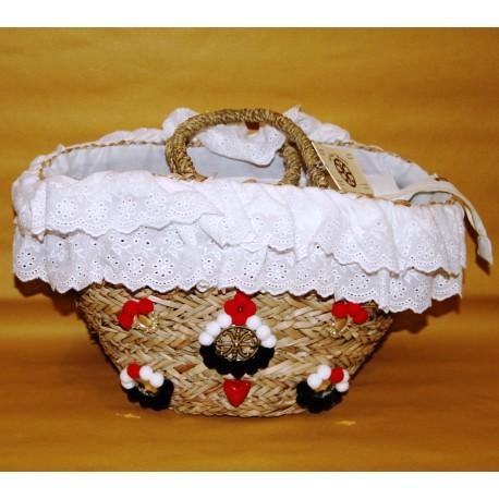 Coffa siciliana con merletto bianco e Simbolo di Lipari
