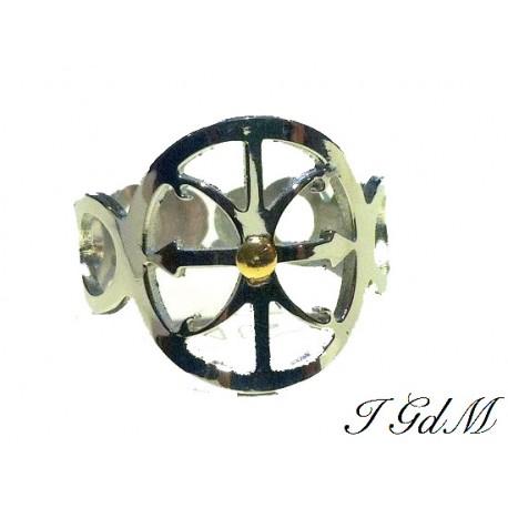 Anello Simbolo di Lipari in acciaio e oro giallo