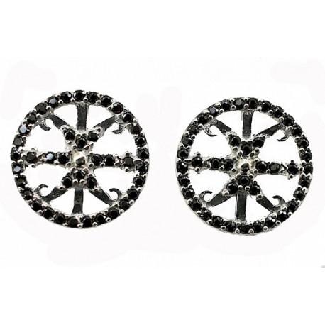 Orecchini Simbolo di Lipari argento e ossidiana
