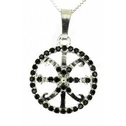 Ciondolo simbolo di Lipari in argento e ossidiana