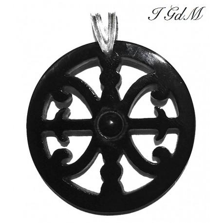Ciondolo Simbolo di Lipari in ossidiana e argento