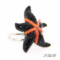 Anello in argento ossidiana e corallo