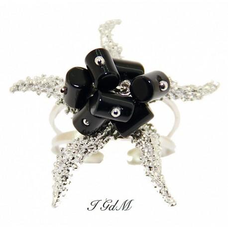 Anello stella marina argento e ossidiana