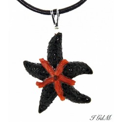 Ciondolo stella marina in ossidiana e corallo