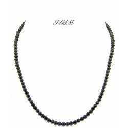 Collana ossidiana liscia e argento 4 mm